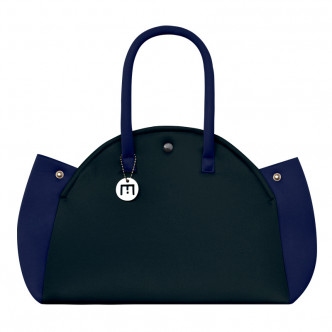 The black bag, a classic, but this one has a touch of colour with it. Dark blue.