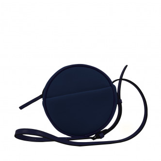 Stay subtle and classic. Take the dark blue Malicieux round handbag with its long strap.