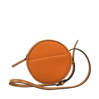 Orange is the new black with this Malicieux round hand bag.