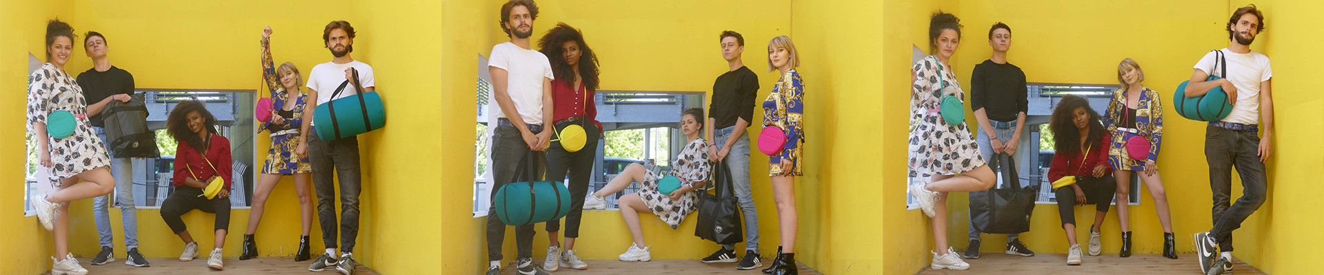 Colorful and lightweight Handbags in neoprene-like foam